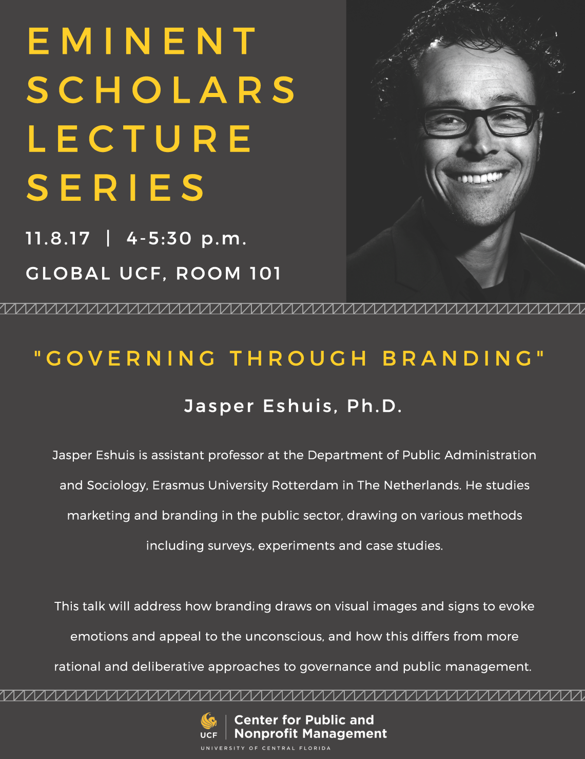 Jsper Eshuis, Ph.D. | 11.8.17 | 4-5:30pm | Global UCF, Room 101