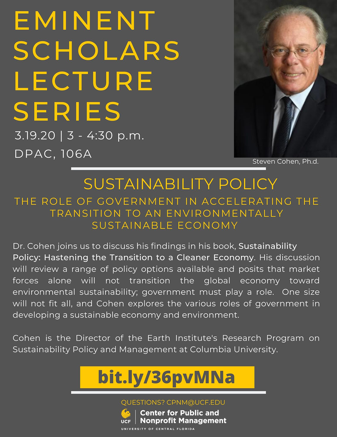 Stephen Cohen, Ph.D. | 03.19.20 | 3-4:40pm, DPAC, 106A
